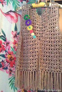 Upcycled Waistcoat Vest Hand Crocheted Flowers by AllThingsPretty Crochet Vest Pattern, Crochet Cardigan, Crochet Stitches, Crochet Patterns, Crochet Woman, Hand Crochet, Knit Crochet, Diy Kleidung Upcycling, Diy Summer Clothes