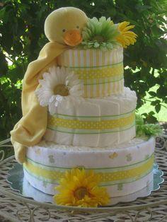 Yellow duck diaper cake