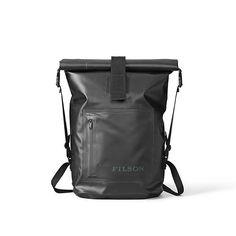 Men's Filson Dry Day Backpack Holdall - Black - one_size_fits_all Rucksack Backpack, Black Backpack, Messenger Bag, Camping Items, Camping Gear, Day Backpacks, Minimalist Bag, Minimalist Design, Waterproof Backpack
