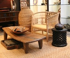 African great collection of texture drawn from Buhera baskets, natural Malawi chair and the Bamileke side table