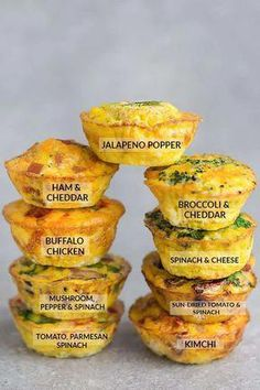 Keto Egg Cups - 9 Delicious & Easy Low Carb Breakfast Recipes 9 Low Carb Breakfast Egg Muffin Cups are packed with protein and perfect for busy mornings, weekend or holiday brunch. Best of all, so easy make-ahead breakfast for on the go. Quick High Protein Breakfast, Make Ahead Breakfast, Healthy Breakfast Recipes, Brunch Recipes, Perfect Breakfast, Brunch Ideas, Healthy Muffins, Diet Breakfast, Fast Breakfast Ideas