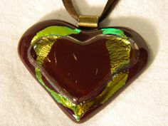 Heart Fused Glass Red and Gold Dichroic Pendant by uniquenique, $28.00