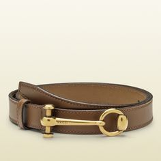 Gucci Maple Brown Leather Belt with Horsebit Buckle