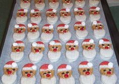 Here's a cute no bake Santa cookie to whip up on an hours notice. Use Nutter Butter cookies from your local supermarket. Just dip top in (head end) melted white chocolate and sprinkle with red colored sugar. Dot with either a white chocolate morsel or 1/2 of a mini marshmallow for the pom pom. Let cool on parchment paper lined rack.