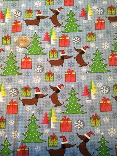 Hey, I found this really awesome Etsy listing at https://www.etsy.com/listing/256958991/dachshund-fabric-christmas-dog-cotton