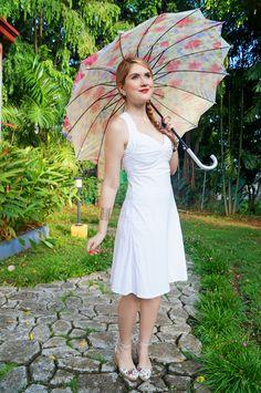 Little White Dress Outfit-plaid parasols?