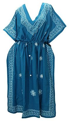 Introducing V Neck Rayon Casual Embroidered Partywear Long Lounge Caftan Beach Dress Blue Valentines Day Gifts 2017. Get Your Ladies Products Here and follow us for more updates!