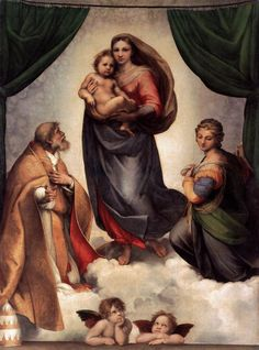 """Sistine Madonna, Gemäldegalerie Alte Meister, Dresden Raphael Large image: HERE . From Wiki: """"Sistine Madonna, also called La Madonna di San Sisto, is an oil painting by the Italian artist. Italian Renaissance Art, Renaissance Kunst, High Renaissance, Renaissance Paintings, Renaissance Artists, Sistine Madonna, Madonna Und Kind, Madonna And Child, Lady Madonna"""