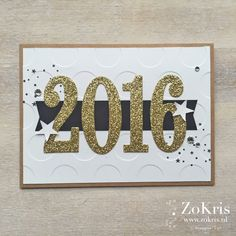 Large numbers from the Framelits die set are perfect for a handmade new years card. Love the gold glimmer paper and the large swiss dots for the embossed front panel.