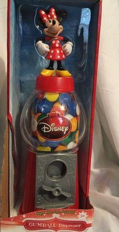 "NIB DISNEY CHRISTMAS HOLIDAY MINNIE MOUSE Gumball Dispenser 9.5"" Tall  #Disney"