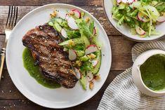 Simple seared steak with arugula pesto and cucumber-radish salad
