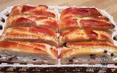 Prokládaný tvarohový koláč s rozinkami | NejRecept.cz Hot Dog Buns, Hot Dogs, Pavlova, Lasagna, Nutella, French Toast, Bakery, Food And Drink, Treats