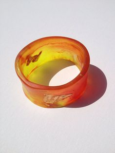 SALE 30% OFF Red, Yellow with Gold Funky Wide Resin Bangle on Etsy, $20.30 AUD
