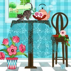 T is for Table, Tabby, and Tulips. T is for Table, Tabby, and Tulips is one of many whimsically illustrated letters of the alphabet featuring the letter T as a table with a tea kettle, tabby cat, table cloth, and tulips in the foreground.