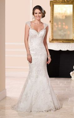 6105 Lace Over Satin Low Back Wedding Dress by Stella York