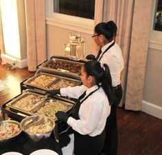 Our experienced staff serving out of a buffet #CNCatering #DallasCatering #WeddingCatering #DallasWeddings #TexasWeddings #WeddingFood #TexasFood #DallasFood #WeddingBuffet #BuffetService