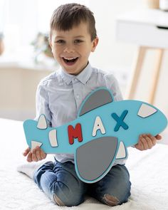 Wooden Plane for Baby Boy Personalize Gift Name Puzzle Toddler Gift Idea Boy Nursery Room Decor Baby Shower Name Tag Toodler Ship Toy Toddler Boy Toys, Baby Girl Toys, Baby Boy Gifts, Toddler Gifts, Toys For Boys, 1st Birthday Presents, 1st Boy Birthday, Boy Names Creative, Preschool Puzzles