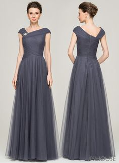 Stylish and elegant. Love charcoal color. #jjshouse #motherdress #tulle #charcoal