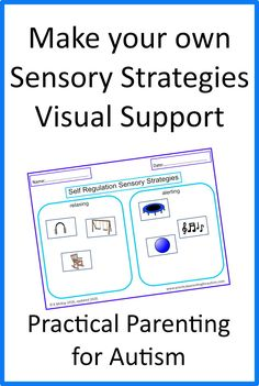 Make your own sensory strategies visual support for your child or teen with #autism with this printable easy to use resources from Practical Parenting for Autism