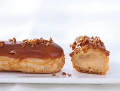 Eclair caramel with salted butter by Christophe Adam: discover the cooking recipes of Femme Actuelle Le MAG - - Eclairs, Profiteroles, Pastry Recipes, Dessert Recipes, Cooking Recipes, Christophe Adam, Cream Puff Recipe, Puddings, Chocolate Desserts