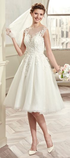 $198.59-Vintage Cap-sleeve Short Wedding Dress with Sleeves. and Illusion Neckline. http://www.ucenterdress.com/cap-sleeve-knee-length-wedding-gown-with-illusive-design-and-lace-bodice-pMK_704694.html.  Free Custom-made & Free Shipping! Shop lace wedding dress, strapless wedding dress, backless wedding dress, with sleeves, mermaid wedding dress, plus size wedding dress, We have great 2016 best Wedding Dresses on sale at #UcenterDress.com today!