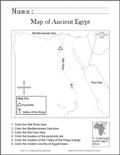 Map of Ancient Egypt Worksheet for Kids, Grades 1-6 - Free to print (PDF).