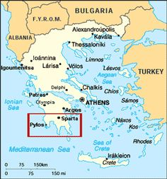 A map of Greece showing the Ionian and Aegean Sea all the cities in