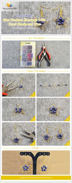 #Beebeecraft shows u how to make star pendant #earrings with #pearlbeads and pins