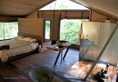 A mesh-room 'tree house' in summer, a cozy under-canvas retreat in winter. Add…