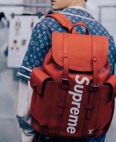 Supreme x Louis Vuitton Bag x Louis Vuitton denim shirt x Clout Supreme Lv, Supreme Bape, Hypebeast, Air Jordan, Reebok, Supreme Backpack, Urban Fashion, Mens Fashion, Supreme Clothing