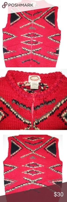 """Vintage Banana Republic Knit Vest Zip Banana Republic Mens Vintage Hand Knit Aztec Print Sweater Vest L Wool Red Preowned in great condition Very heavy wool vest - perfect for cold weather! Full front zip Pockets in the front Length from shoulder to hem is 25"""" Chest from under arm to under arm is 23"""" Hand Knit I have other items like this listed thank you for looking! Banana Republic Jackets & Coats Vests"""