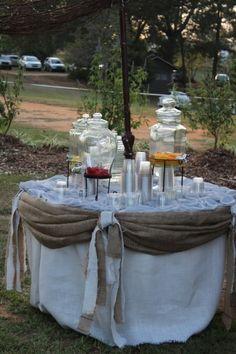 Outdoor Wedding Reception drink set up