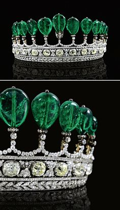 500 carats of emeralds and magnificent rose and brilliant cut diamonds in this tiara