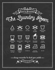 Printable For The Laundry Room With Most Common Care Symbols And Their Meaning Place In A Frame Hang