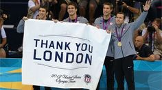 The 4x100 medley relay gold medallists USA thank London