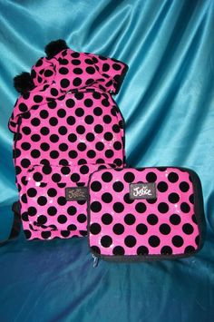 6b40216b1 NWT~JUSTICE GIRLS SCHOOL BACKPACK LUNCH BOX SET PINK SEQUIN DOT REMOVABLE  HOOD  JUSTICEGIRLS