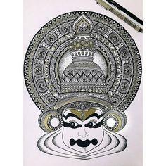"336 Likes, 1 Comments - Zen Artist  Gathering (@mindfulness.mandalas) on Instagram: ""Kathakali Mandala! Quite happy with how it turned out! by @aakankshagram . . . . . . #kathakali…"""