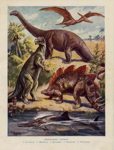 Pterodactyl, Diplodocus, Iguanodon, Stegosaurus, and Ichthyosaurus from the Wonder Book of Wonders
