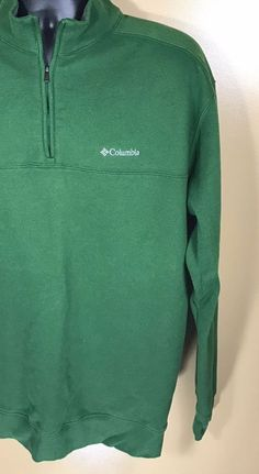 Men's Columbia 1/3 Zip Green Fleece Sweater Sz XL #Columbia #FleeceTops