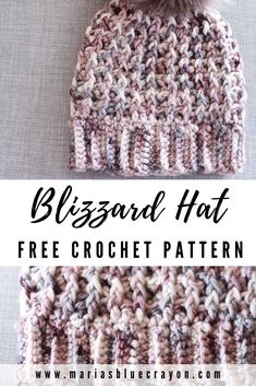 Crochet Hat Patterns 32773 The blizzard crochet hat pattern offers squishy, comfy texture throughout the hat. The pattern offers shaping at the top for a smooth transition from the brim to the closed top. Quick Crochet, Knit Or Crochet, Cute Crochet, Crochet Stitches, Crochet Hooks, Crochet Adult Hat, Crochet Beanie Pattern, Crochet Patterns, Crochet Gratis