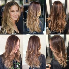 Hair inspiration from Sarah Jessica Parker;) #balayage #ombre #brunette #hairbykimjette