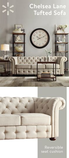 Relax in style with this stunning sofa! This luxurious chesterfield sofa will complete any classic or glam-inspired room. The rolled back and tufted upholstery add a stately, vintage air to the piece. The beige linen fabric is neutral and light, easilycom Room Design, Living Room Furniture, Living Room Color, Beige Sofa, Living Room Scandinavian, Home Decor, Tufted Sofa, Sofa Colors, Chesterfield Sofa Living Room