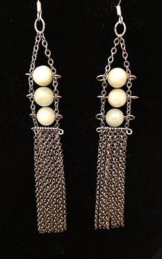 Jade and Chain Earrings