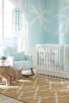 As a new parent, you'll be spending a lot of time in your baby's nursery. Why not decorate it like a tropical getaway with the Urban Rocker in Palm Print accented by our Sherwin-Williams paint colors? Click to shop this look!