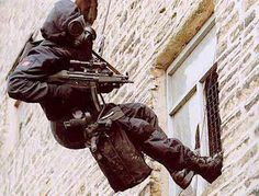 SAS soldier during the Iranian Embassy Siege in London in 1980 - Do not F@&k with the SAS. https://www.youtube.com/watch?v=eKi5AvTbYBM