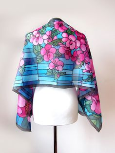 Silk scarf Hummingbird Stained Glass scarf Colibri scarves