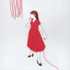 『誰かにつながる赤い糸 3』(シリーズ作品) アクリル絵具・トレーシングペーパー 15cm×15cm