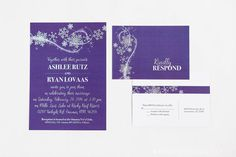 "Winter Wonderland Invitation & Rsvp Postcard Enjoy this deep purple wedding invitation topped with white snowflakes and a white glittery frost in the wind. This listing includes: 5x7 Invitation 3.5 x 5 RSVP Postcard A7 Envelope  Choices: Quantity (increments of 25) Invitation Wording: you may submit your own invitation wording  Process: Add the item to your cart  In the ""Notes to EmDesign Wedding"" include: • Invitation Wording • Actual wording you want on your invites including: Names, date…"
