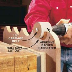 DIY Tip of the Day: Hole-Saw Drum Sander. To make a drum sander, insert a 1/4 x 3-in. bolt into a hole-saw cutout. Secure the bolt with a washer and nut. Using a hacksaw, cut a 1/4-in. deep slot in line with the bolt. Cut adhesive sandpaper so that you can slide one end into the slot, wrap the cutout, and slide the other end back into the slot. Chuck the bolt into a drill, and you have a drum sander. - E.R. Comstock.
