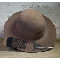 Brown felt Boho hat.